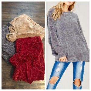 Sweaters - Loose fit soft chenille sweater
